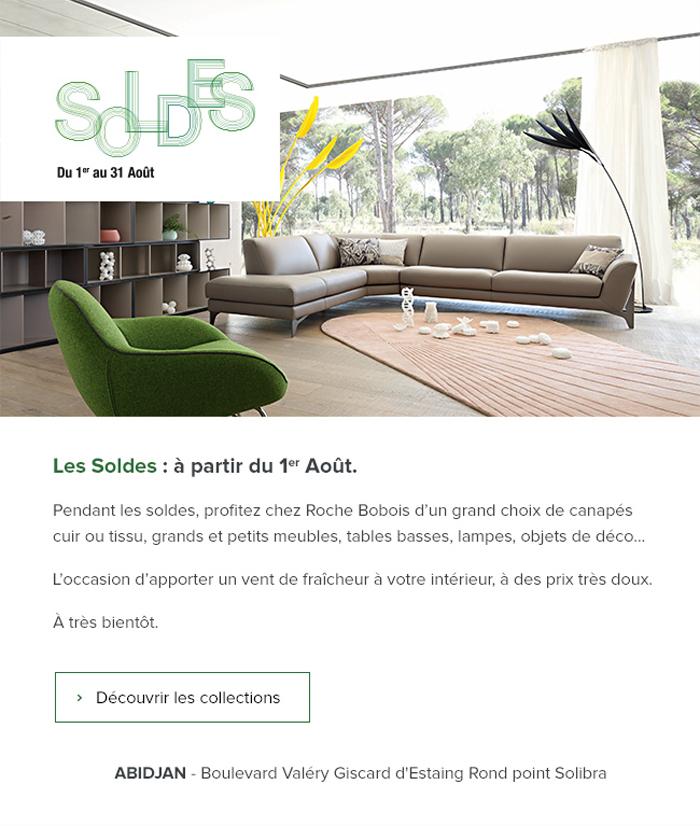 abjmail roche bobois soldes du 1 au aout 2018. Black Bedroom Furniture Sets. Home Design Ideas